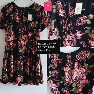 Black floral tie-front tea dress NWT size L